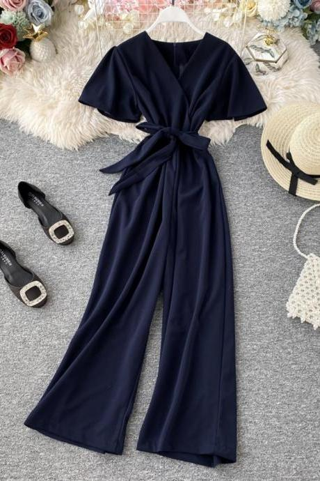 Simple v neck jumpsuit fashion girl jumpsuit