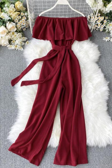 Stylish off shoulder jumpsuit women's jumpsuit