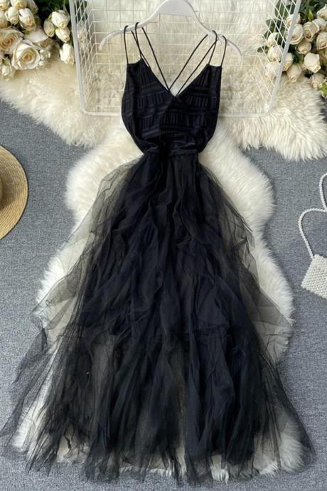 Black v neck tulle dress fashion dress