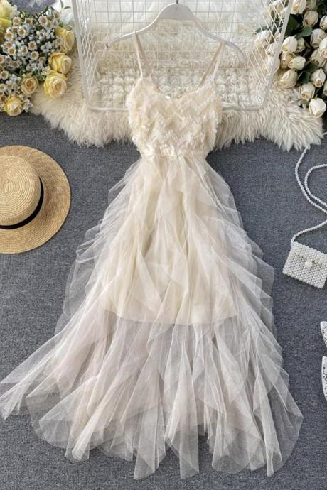 Champagne tulle sequins dress summer dress