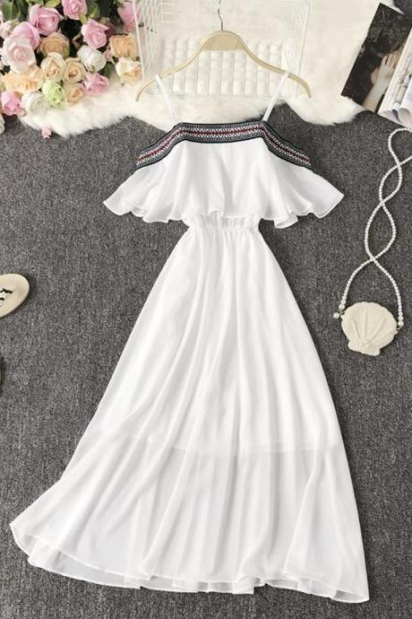 Cute A line soft chiffon dress summer dress