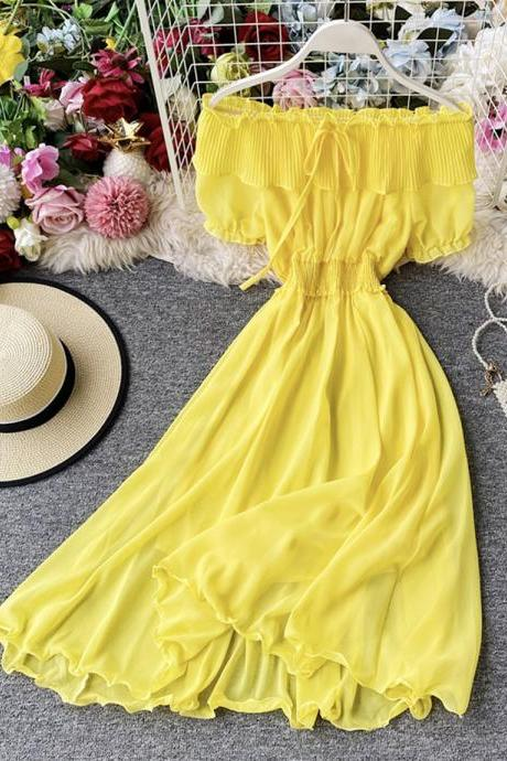 Cute off the shoulder chiffon casual summer dress
