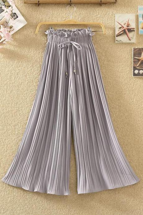 Fashionable pleated chiffon long pants wide leg pants