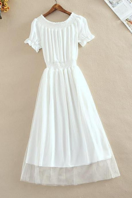 A line chiffon summer dress fashion girl dress