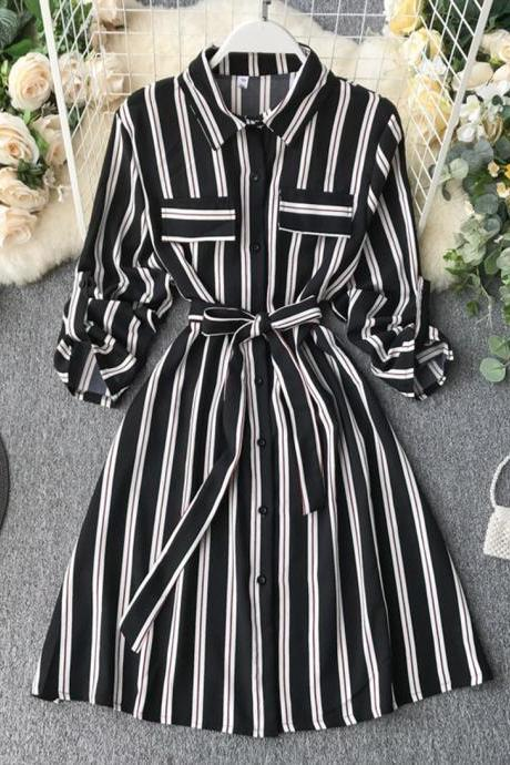 Retro striped slim dress long sleeve dress