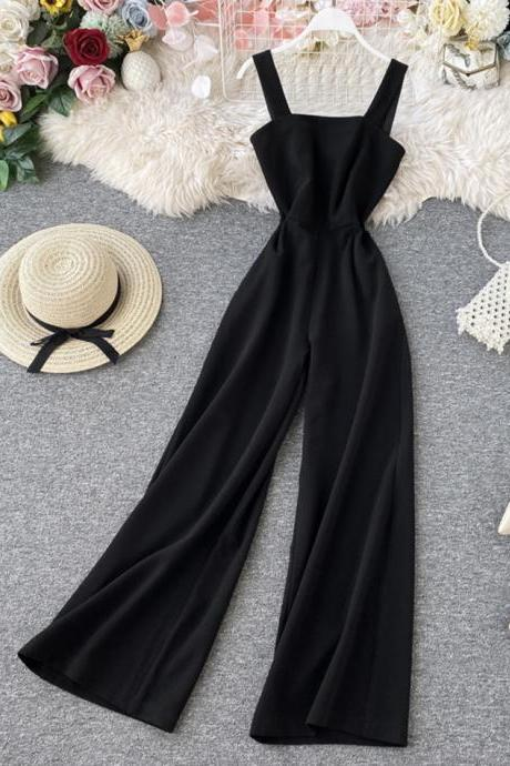 Chic sleeveless jumpsuit wide leg jumpsuit