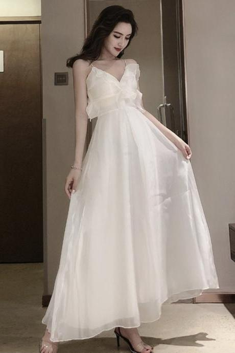 White A line v neck tulle dress fashion dress