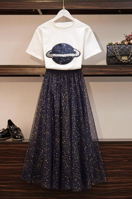 Two pieces set white T- shirt with sequins + blue sequins skirt