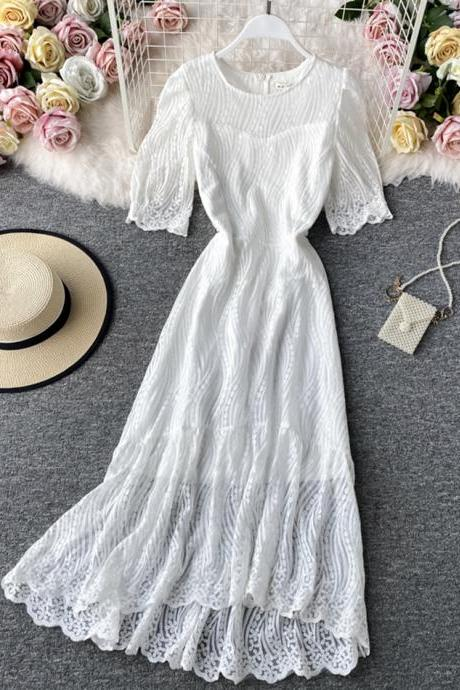 White lace dress fashion dress
