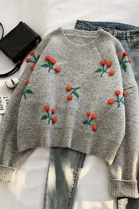 Sweet cherry sweater long sleeve sweater