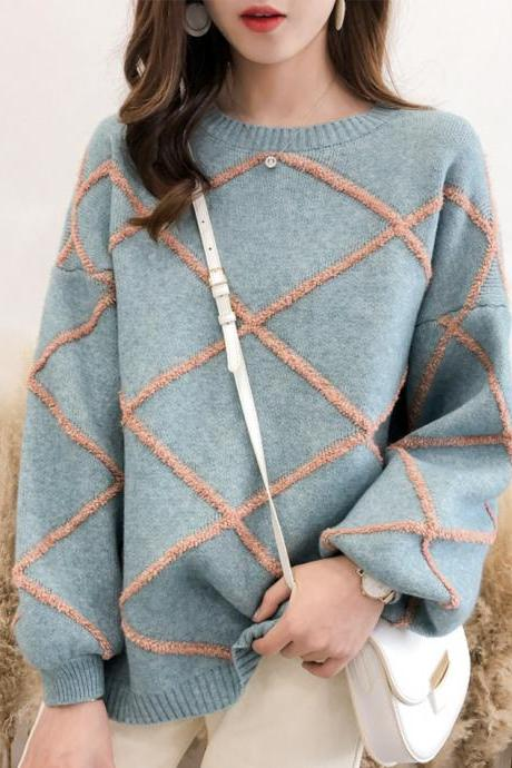 Cute round neck sweater long sleeve sweater