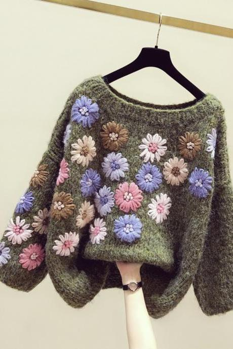 Lovely flowers long sleeve sweater