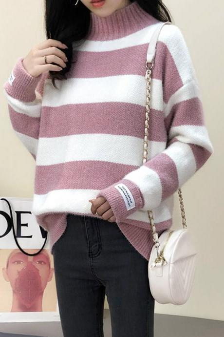 Striped long-sleeved sweater turtleneck sweater