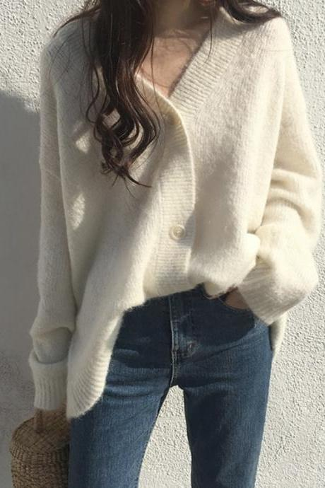 Loose v-neck sweater coat knitted cardigan coat
