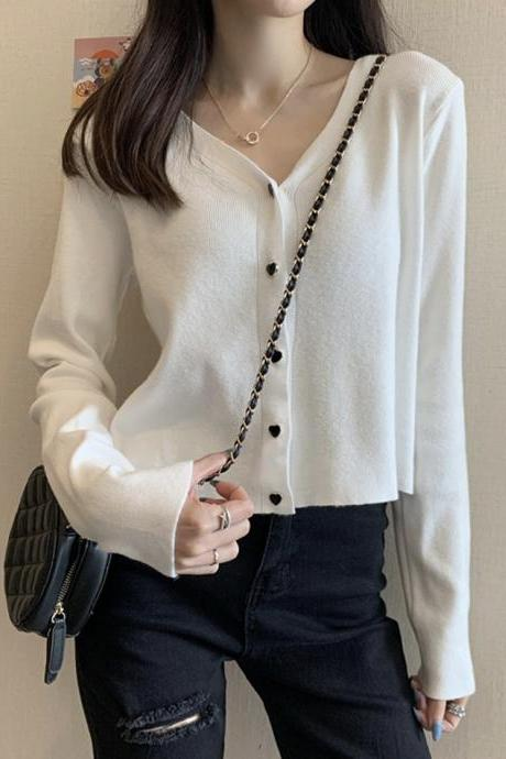 Thin v-neck sweater knitted cardigan sweater