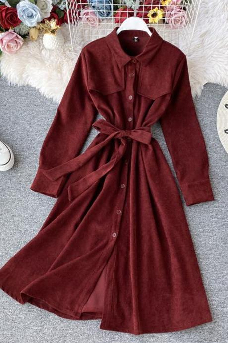 Retro long sleeve corduroy dress trench coat