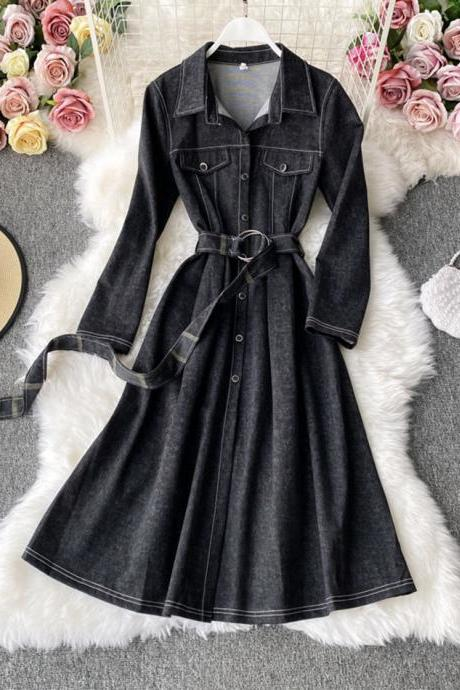 Unique splicing long sleeve dress trench coat