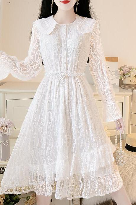 Cute lace long sleeve dress white dress