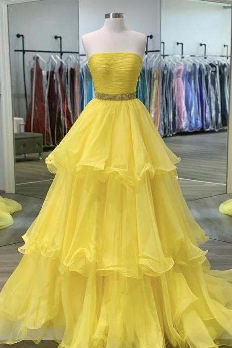 Yellow tulle long strapless prom dress yellow evening dress