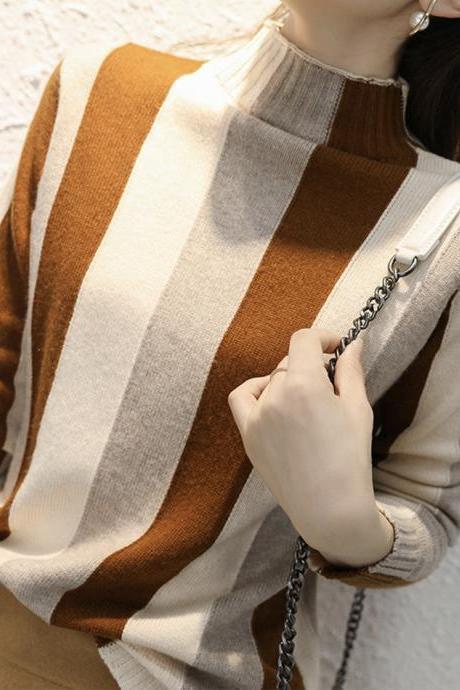 Fashionable striped long-sleeved sweater autumn sweater