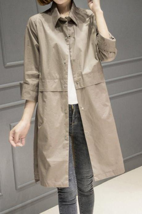 Fashion slim long outerwear autumn long-sleeved trench coat