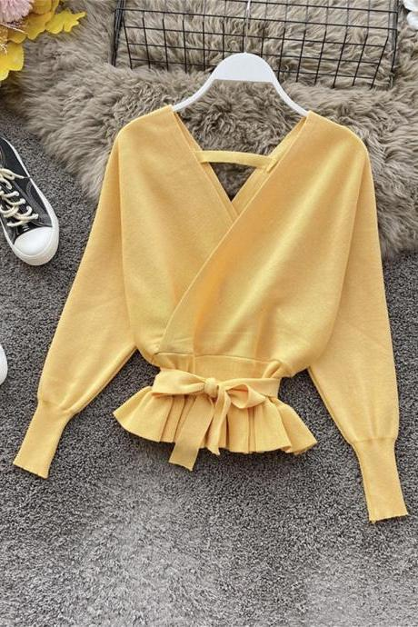 Cute v neck long sleeve sweater short sweater
