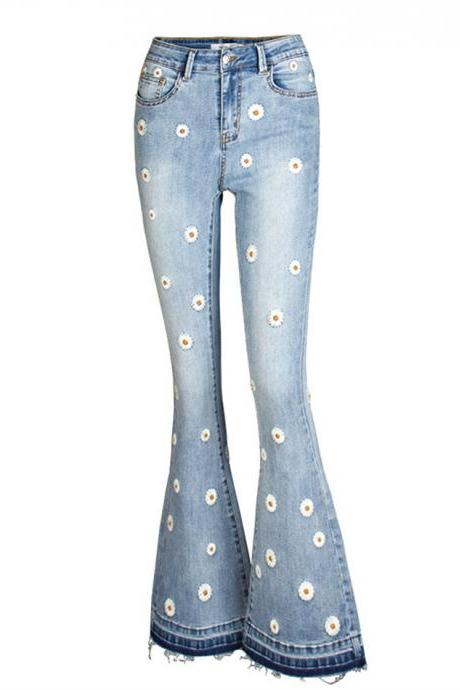 Fashionable flared jeans daisy embroidery jeans