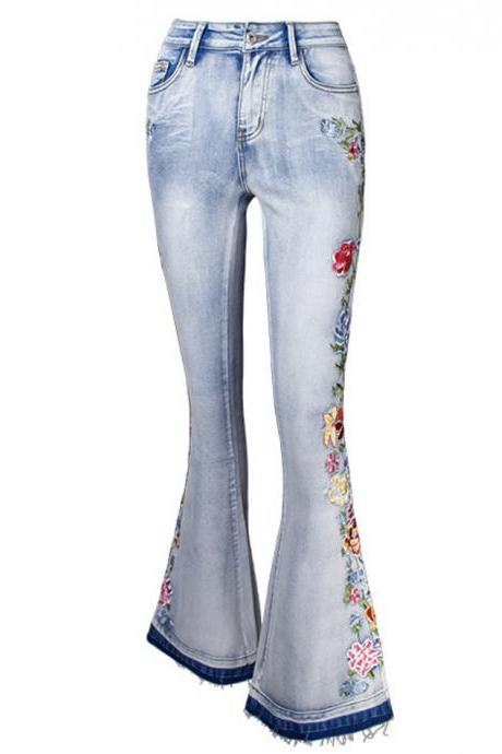 Flared jeans A line embroidery jeans