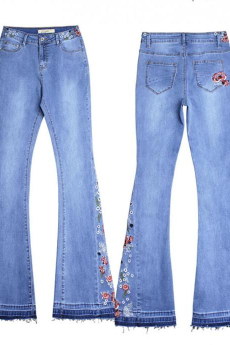 Flared jeans embroidery long jeans