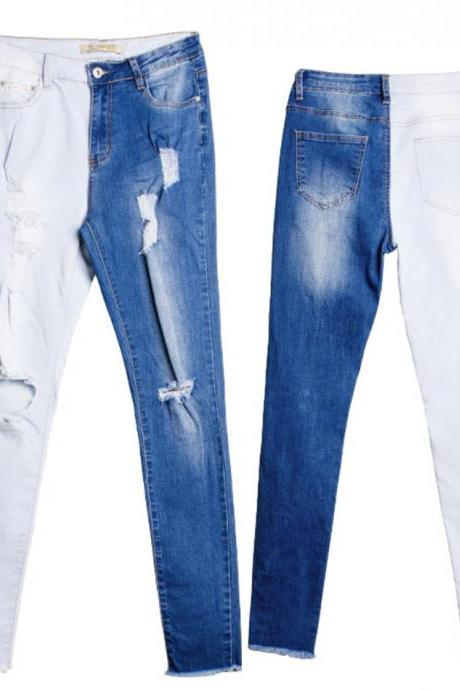Fashionable color matching jeans jeans