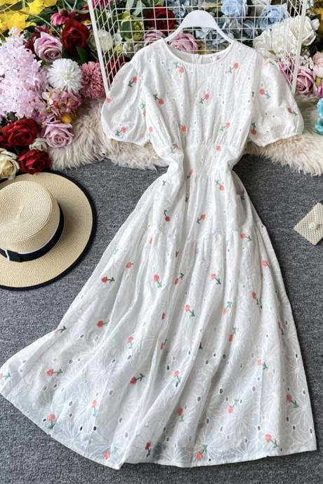 Cute loose white embroidery dress