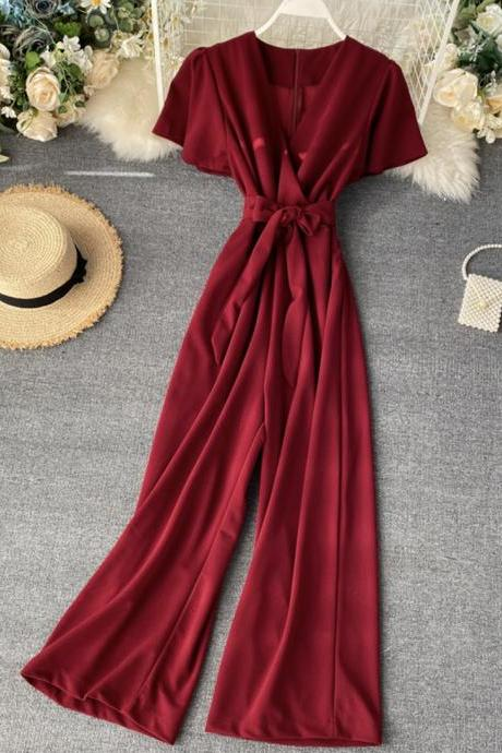 Jumpsuit slim fit wide-leg trousers