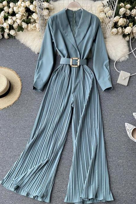 Stylish long sleeve jumpsuit v neck jumpsuit