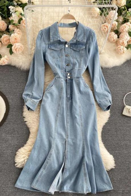 Stylish denim backless dress long sleeve dress