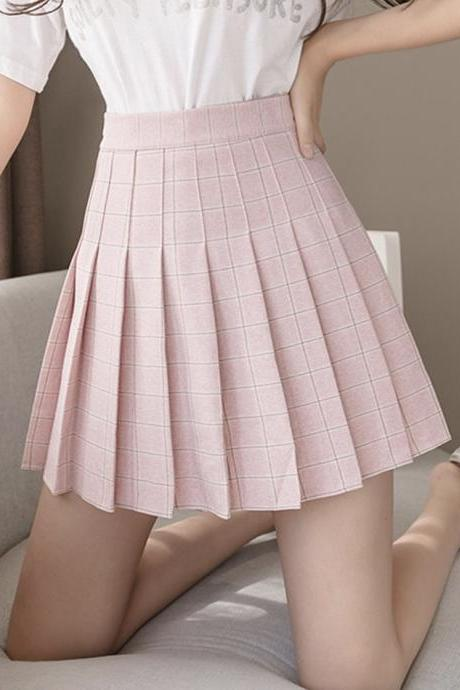 Stylish A line plaid short skirt pleated skirt