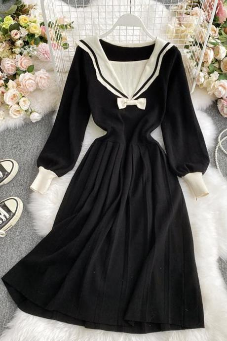 Black navy style knitted dress long sleeve dress