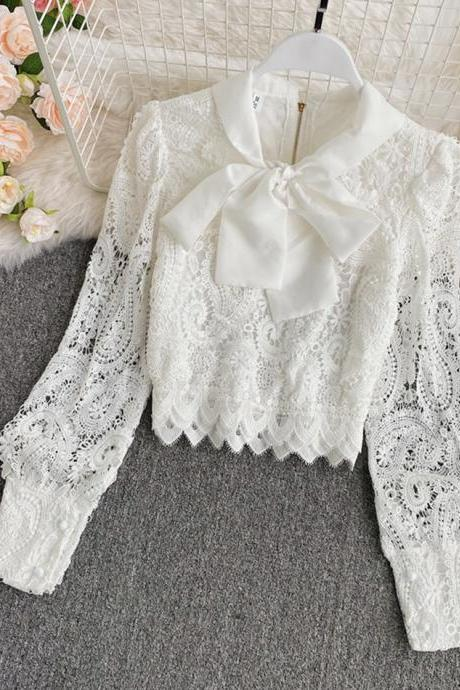 White hollow lace top