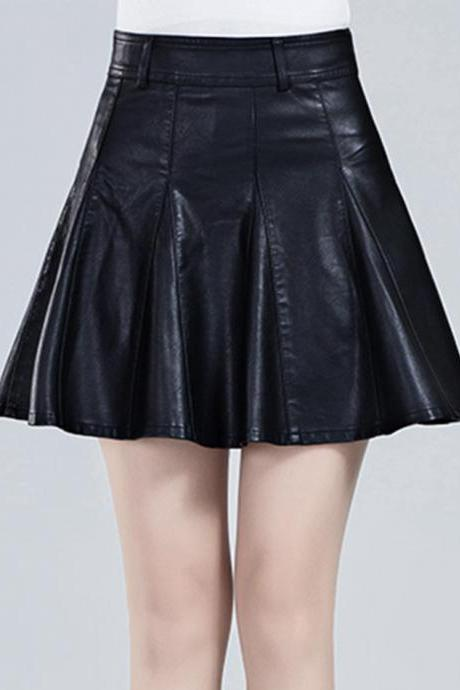 Stylish A line short skirt leather skirt