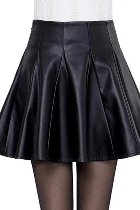 Leather skirt A line short skirt leather skirt