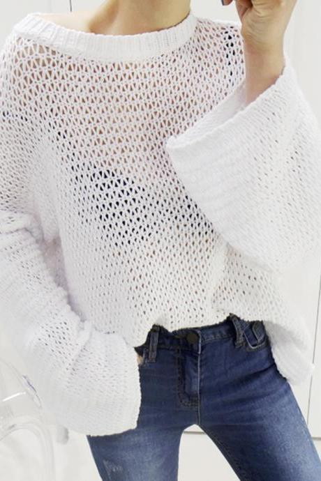 Simple hollow long sleeve sweater