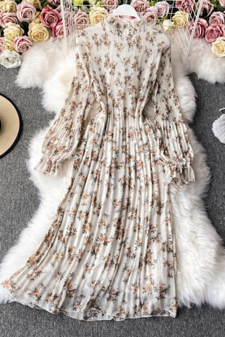 Cute A line printed long sleeve dress