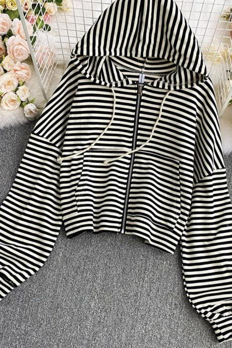 Simple striped hoodie