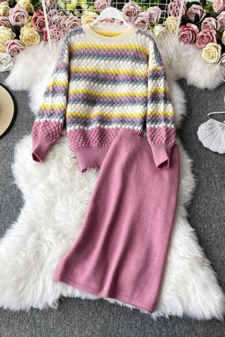 Two-piece suit cute round neck long-sleeved sweater + skirt