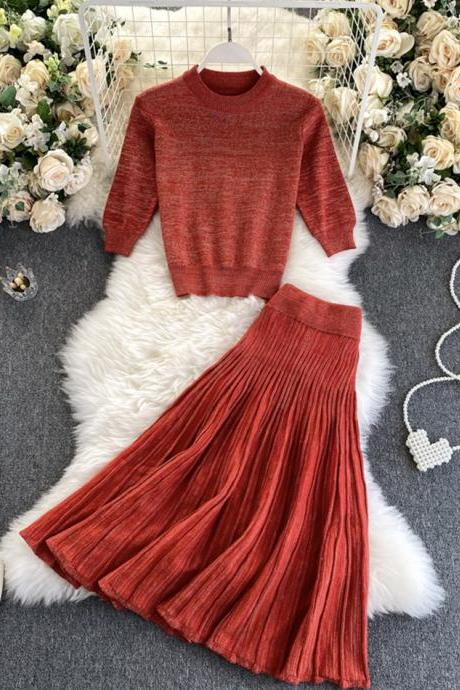 Stylish knitted sweater two pieces
