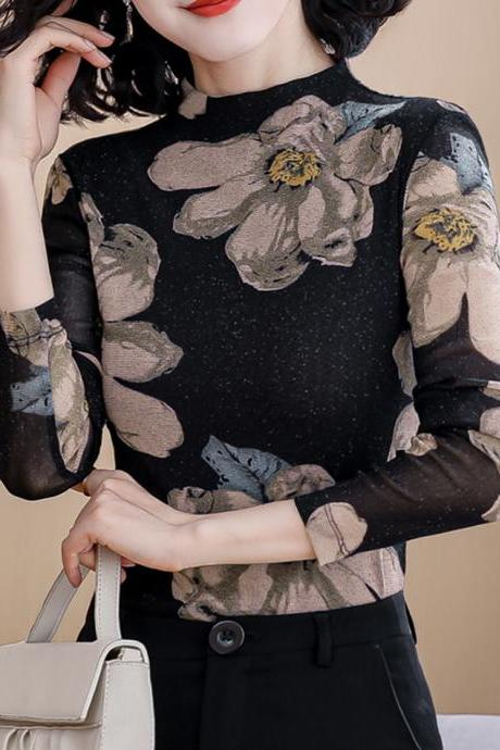 Elegant floral long sleeve top