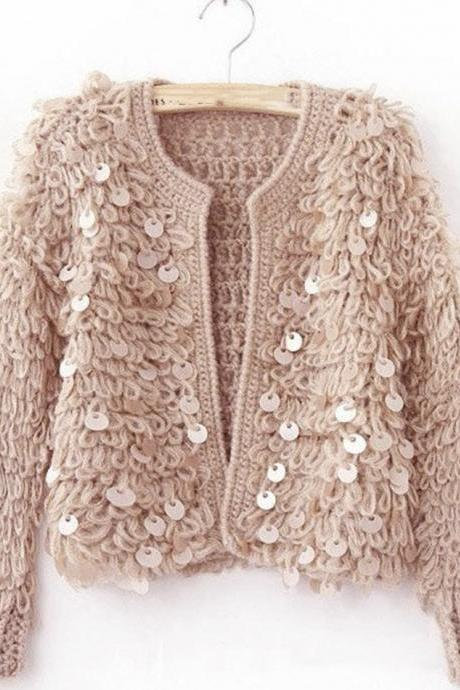 Stylish sequin cardigan sweater