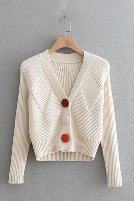 Sweater simple cardigan long sleeve sweater