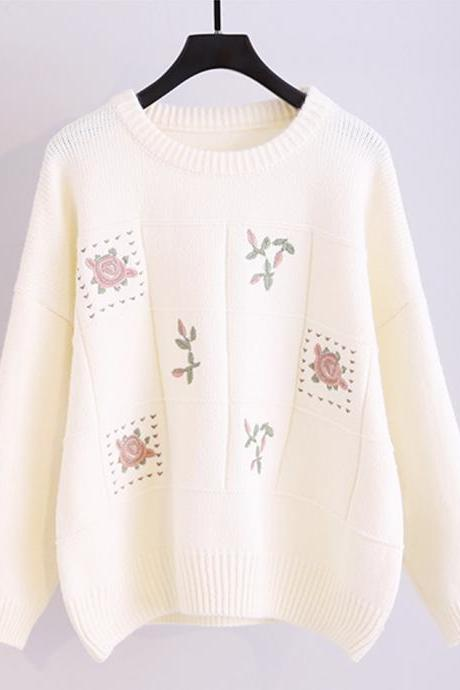 Sweater cute embroidery long sleeve sweater