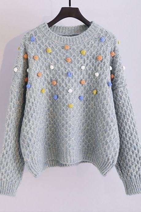 Colorful pom poms embellished round neck chunky sweater