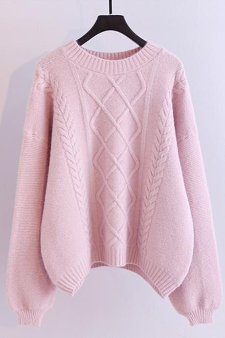 Simple round neck long sleeve sweater